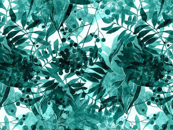 Fotomural Vinilo Floral Vegetación Azul | Carteles XXL - Impresión carteleria publicitaria