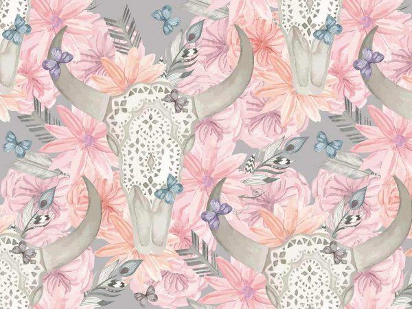 Fotomural Vinilo Calaveras Florales Rosa | Carteles XXL - Impresión carteleria publicitaria