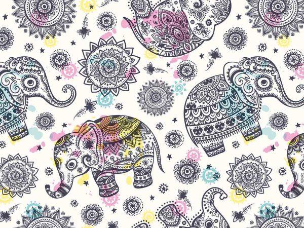 Fotomural Vinilo Floral Elefantes Mandala | Carteles XXL - Impresión carteleria publicitaria