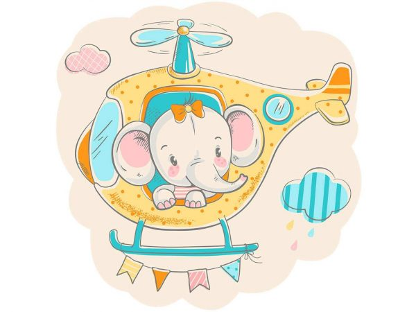 Vinilo Infantil Elefante Helicoptero | Carteles XXL - Impresión carteleria publicitaria