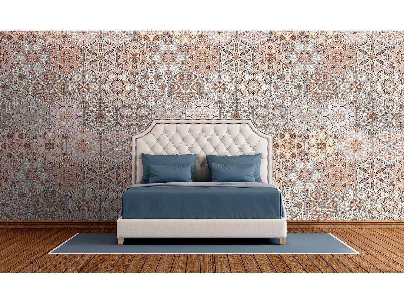 Fotomural Vinilo Zen Geometrico Salmón Hexagonos | Carteles XXL - Impresión carteleria publicitaria
