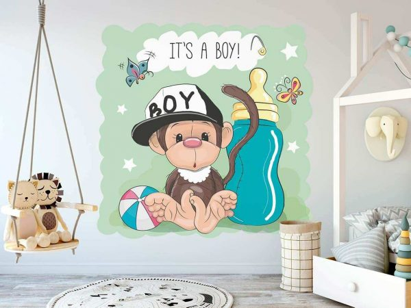 Vinilo Infantil Mono Gorra Negro | Carteles XXL - Impresión carteleria publicitaria