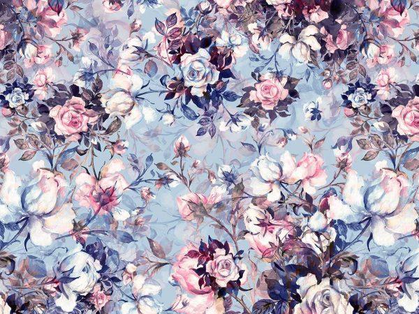Fotomural Papel Pintado Clasico Rosas Morado | Carteles XXL - Impresión carteleria publicitaria