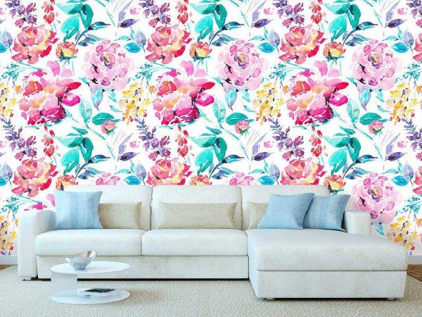 Fotomural Papel Pintado Rosas Acuarela Primaveral   Carteles XXL - Impresión carteleria publicitaria