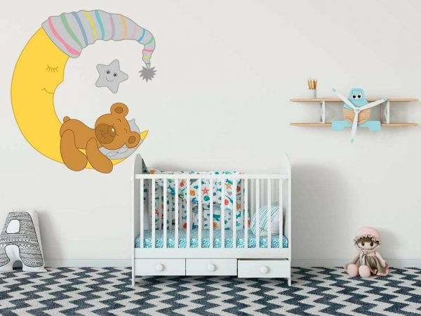 Vinilo Infantil Dulces Sueños Osito Gris | Carteles XXL - Impresión carteleria publicitaria