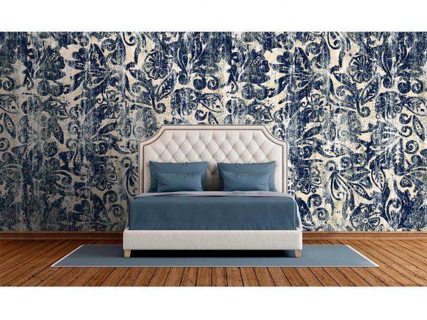 Fotomural Vinilo Zen Floral Azul Arcaico   Carteles XXL - Impresión carteleria publicitaria