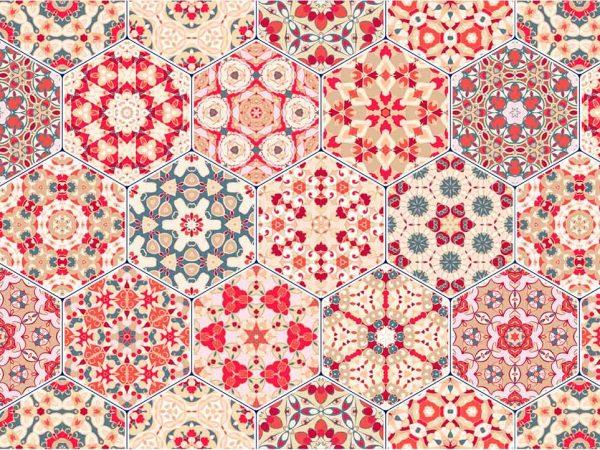 Alfombra PVC Geometría Hexagonal Roja | Carteles XXL - Impresión carteleria publicitaria