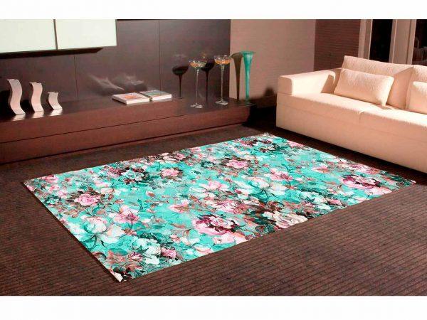 Alfombra PVC Estampado Floral Celeste | Carteles XXL - Impresión carteleria publicitaria