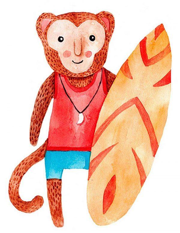 Vinilo Decorativo Puerta Infantil Mono Surf | Carteles XXL - Impresión carteleria publicitaria