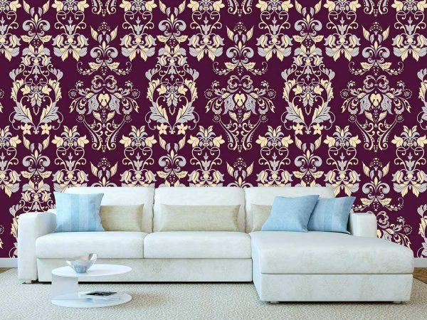 Fotomural Papel Pintado Clasico Floral Granate | Carteles XXL - Impresión carteleria publicitaria