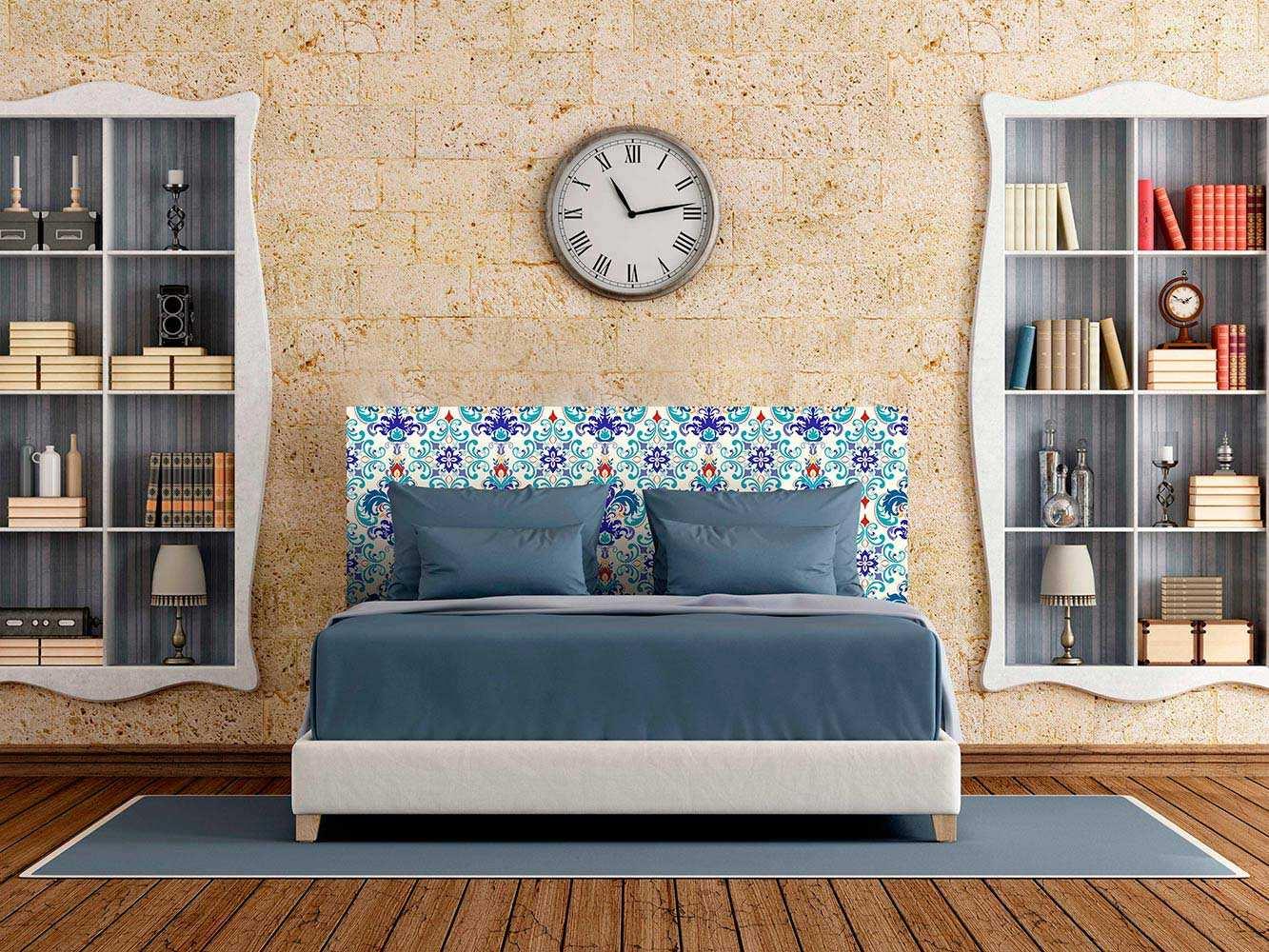 Cabecero Cama Flor Abstracta Azul   Carteles XXL - Impresión carteleria publicitaria