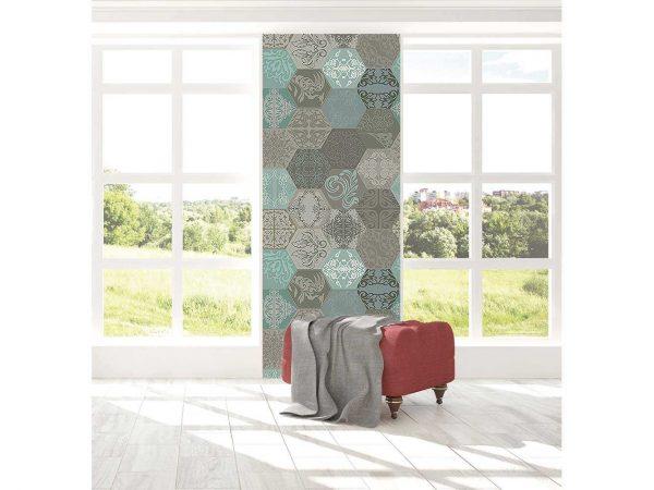 Cenefa Vertical Hexágonos Abstractos | Carteles XXL - Impresión carteleria publicitaria