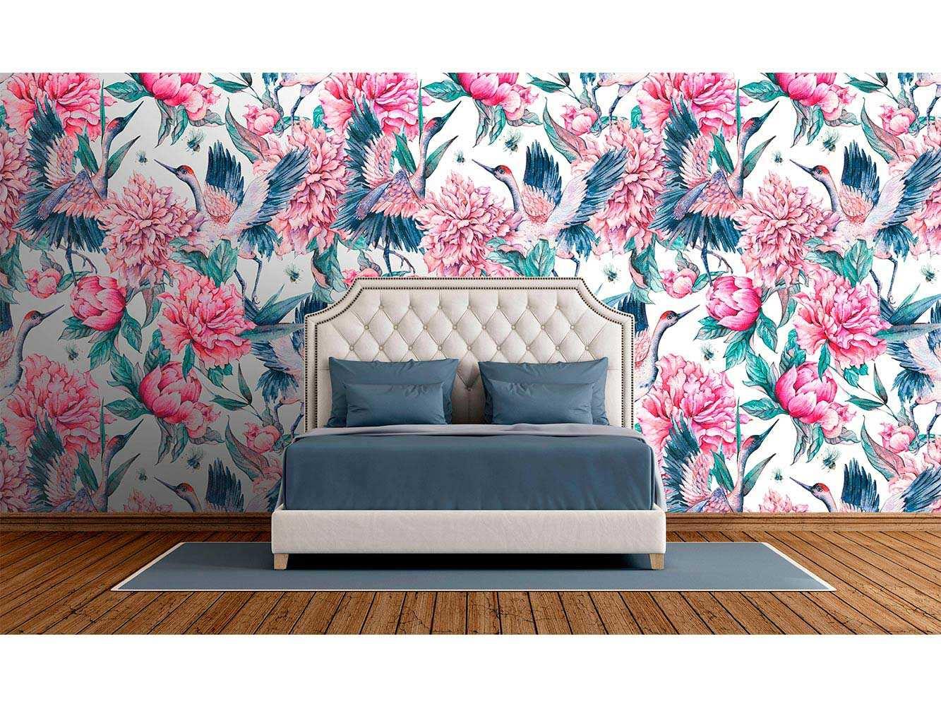 Fotomural Vinilo Zen Grulla Floral | Carteles XXL - Impresión carteleria publicitaria