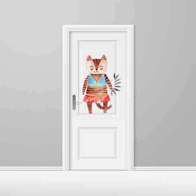 Vinilo Decorativo Puerta Infantil Gata   Carteles XXL - Impresión carteleria publicitaria