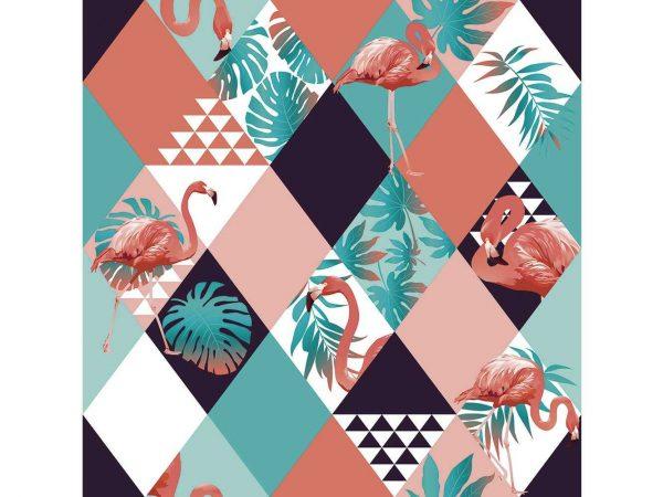 Fotomural Vinilo Flamencos Geometrico Tropical | Carteles XXL - Impresión carteleria publicitaria