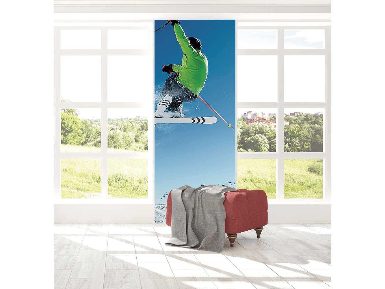 Cenefa Vertical Esquiador en la Nieve | Carteles XXL - Impresión carteleria publicitaria