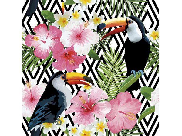 Fotomural Vinilo Tucan Flores Tropicales | Carteles XXL - Impresión carteleria publicitaria