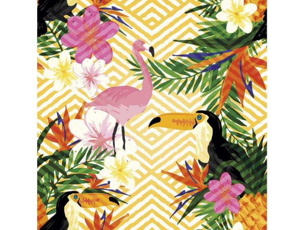 Fotomural Vinilo Tropical Tucan y Flamenco | Carteles XXL - Impresión carteleria publicitaria