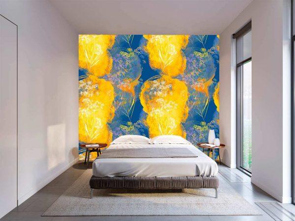Fotomural Vinilo Floral Arte Naranja Azul   Carteles XXL - Impresión carteleria publicitaria