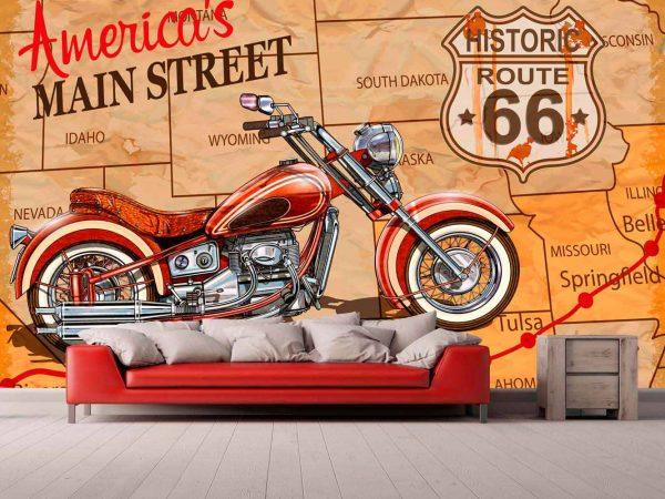 Fotomural Papel Pintado Moto Americana | Carteles XXL - Impresión carteleria publicitaria