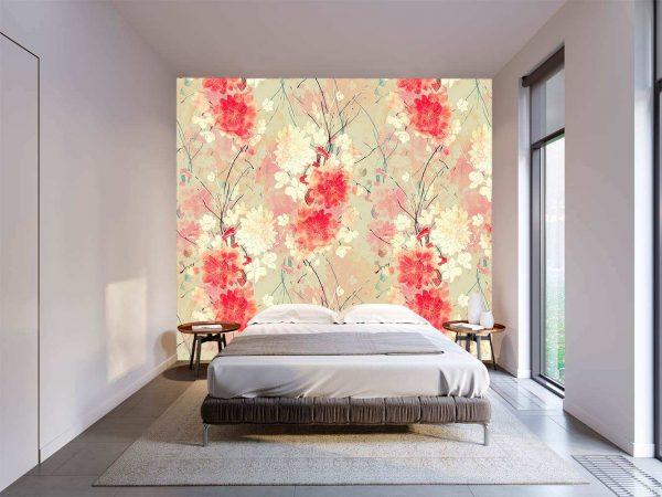 Fotomural Vinilo Floral Abstracto Rojo | Carteles XXL - Impresión carteleria publicitaria