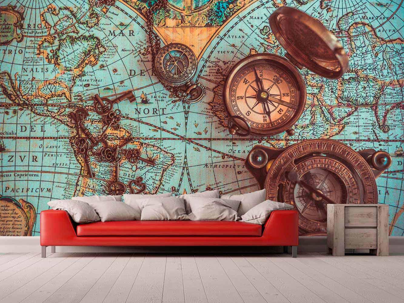 Fotomural Papel Pintado Mapa Antiguo | Carteles XXL - Impresión carteleria publicitaria