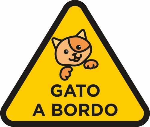 Vinilo pegatina gato a bordo amarillo | Carteles XXL - Impresión carteleria publicitaria