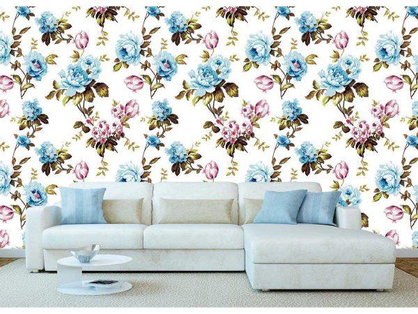 Fotomural Vinilo Tulipanes Franceses Azul | Carteles XXL - Impresión carteleria publicitaria
