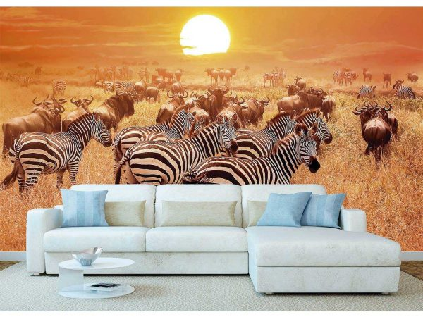 Fotomural Vinilo Africano Cebras y Ñus | Carteles XXL - Impresión carteleria publicitaria