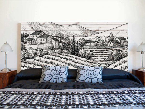 Cabecero Cama Pueblo con Montañas | Carteles XXL - Impresión carteleria publicitaria