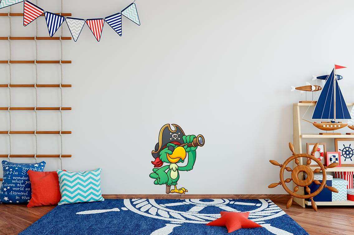 Vinilo Decorativo Infantil Loro Pirata | Carteles XXL - Impresión carteleria publicitaria