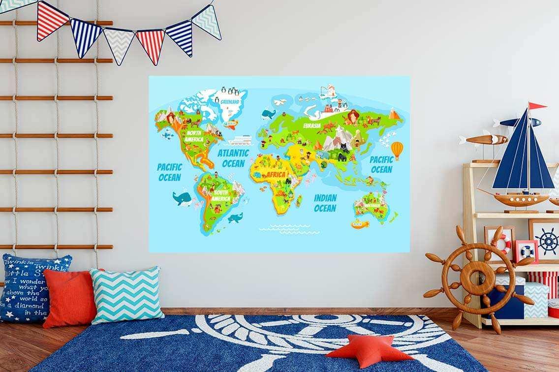Vinilo Decorativo Infantil Mapamundi | Carteles XXL - Impresión carteleria publicitaria