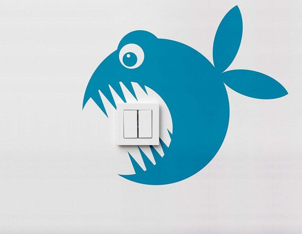 Vinilo interruptor pez 30x30cm | Carteles XXL - Impresión carteleria publicitaria