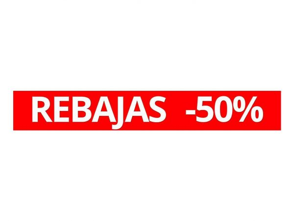 Vinilo Escaparate Rebajas 50 % | Carteles XXL - Impresión carteleria publicitaria