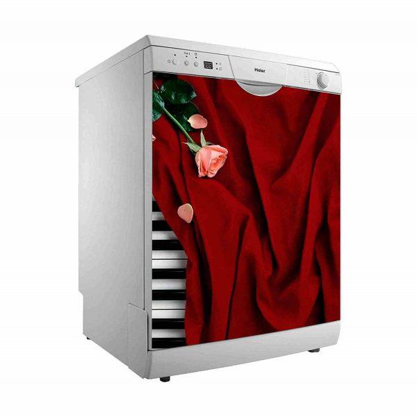 Vinilo Decorativo para Lavavajillas Piano y Rosa   Carteles XXL - Impresión carteleria publicitaria