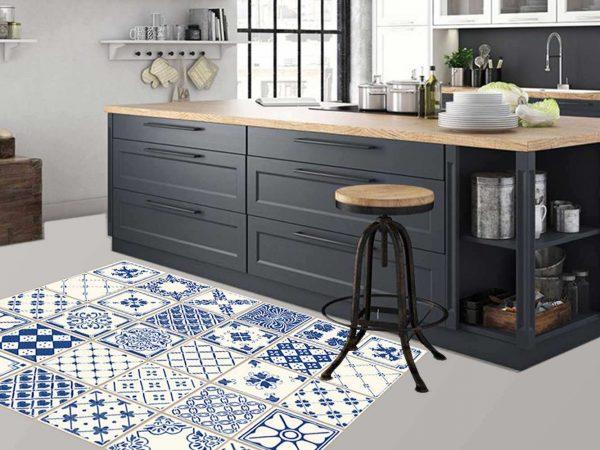 Alfombra PVC Azulejos Azules | Carteles XXL - Impresión carteleria publicitaria