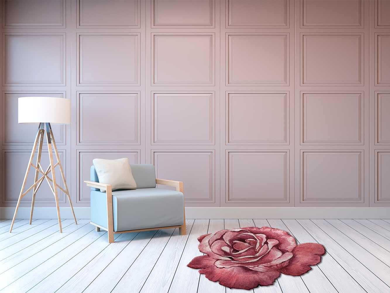 Alfombra PVC Flor Rosa Troquelada   Carteles XXL - Impresión carteleria publicitaria