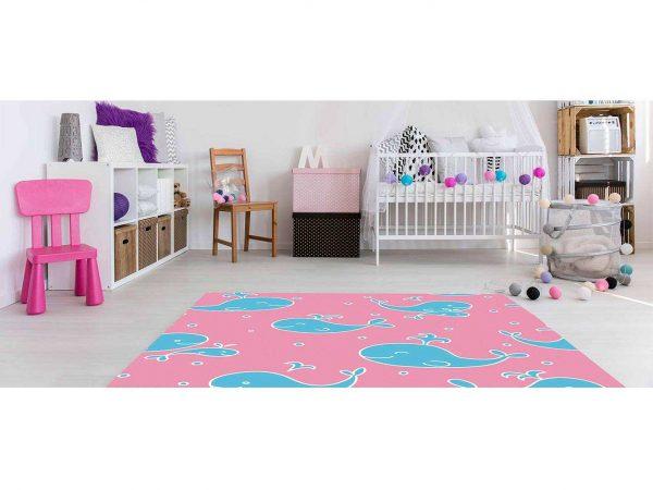 Alfombra PVC Infantil Ballenas Azul y Rosa | Carteles XXL - Impresión carteleria publicitaria