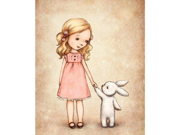 Alfombra PVC Infantil Chica y Animal | Carteles XXL - Impresión carteleria publicitaria