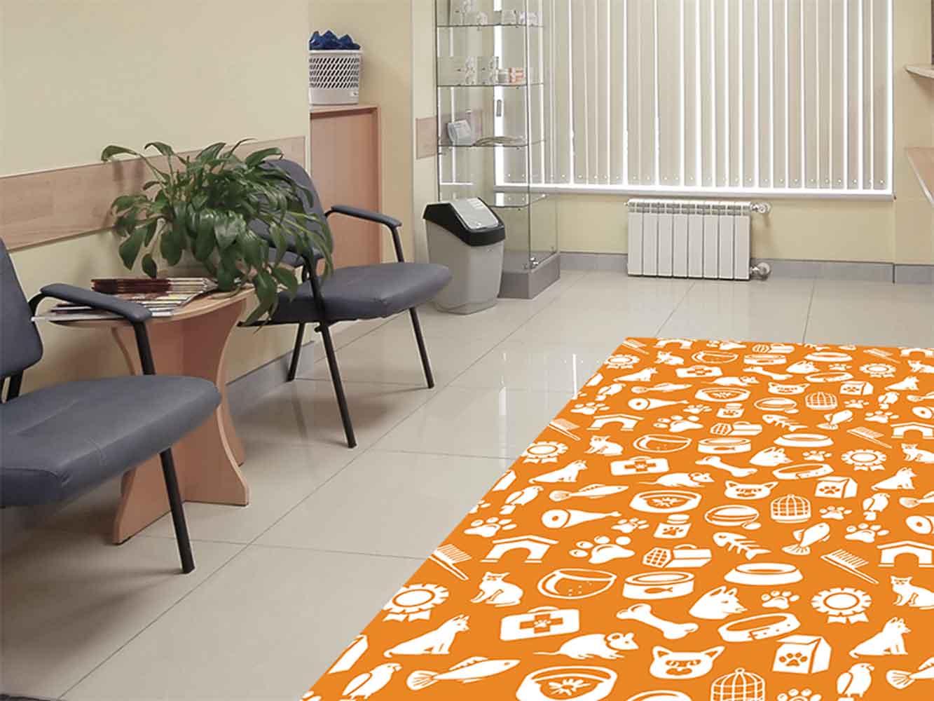 Alfombra PVC Veterinaria Animales Naranja | Carteles XXL - Impresión carteleria publicitaria