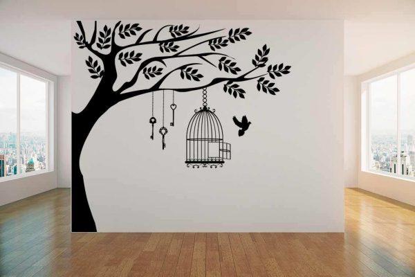Vinilo decorativo jaula en árbol | Carteles XXL - Impresión carteleria publicitaria