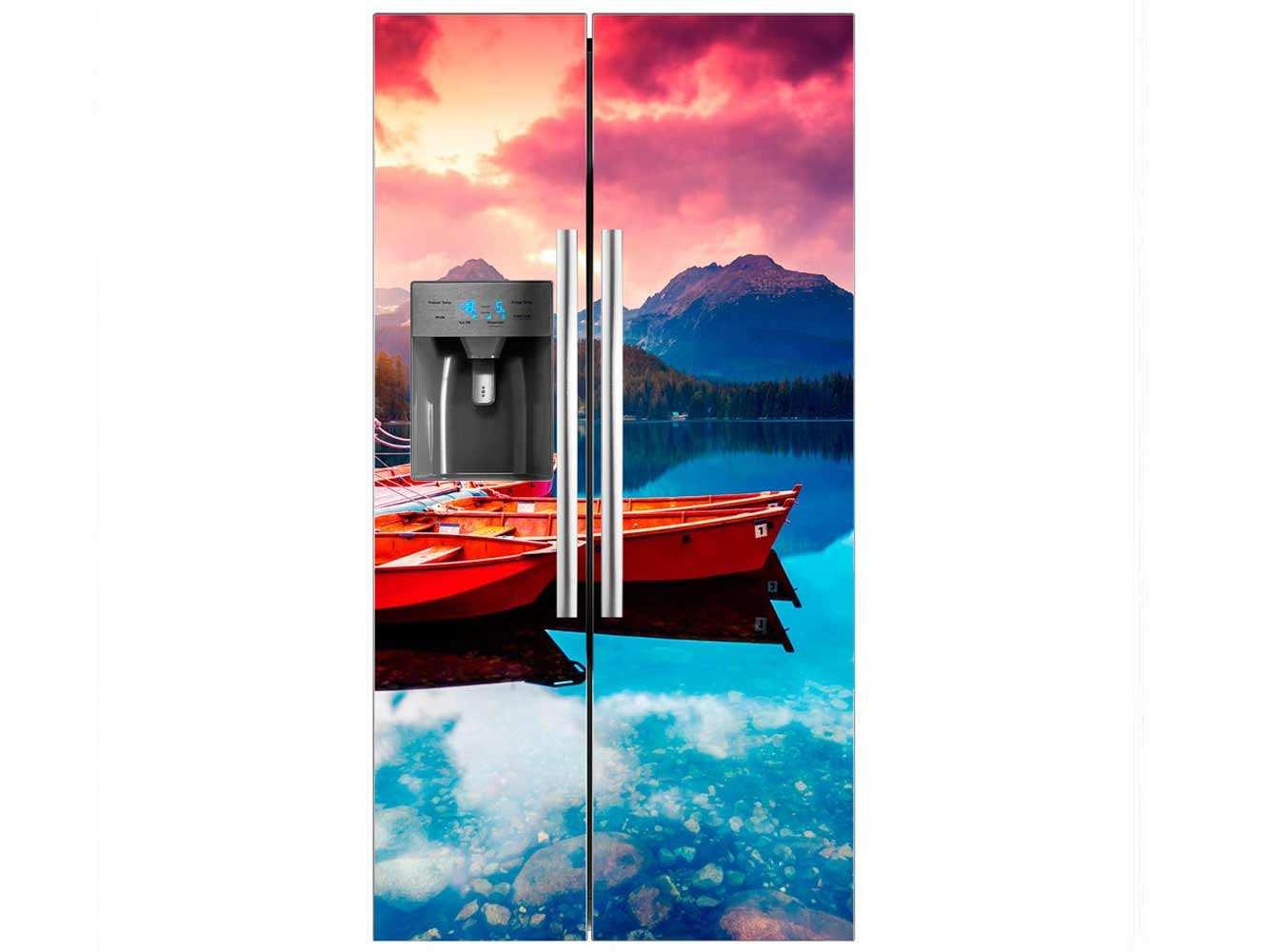 Vinilo Frigorífico Barcas Lago   Carteles XXL - Impresión carteleria publicitaria