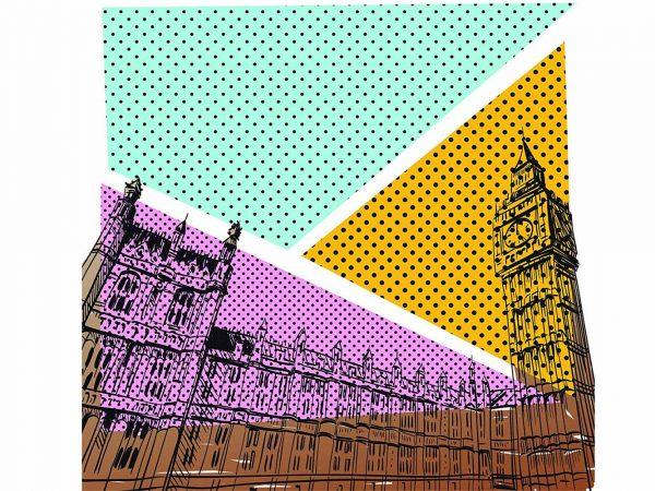 Fotomural Papel Pintado Cómic Big Ben Londres | Carteles XXL - Impresión carteleria publicitaria