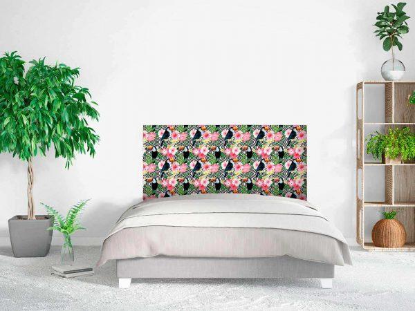 Cabecero Cama Abstracto Floral Tucanes | Carteles XXL - Impresión carteleria publicitaria