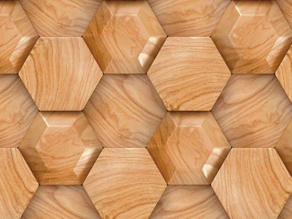 Cabecero Cama Abstracto Madera Hexagonal | Carteles XXL - Impresión carteleria publicitaria