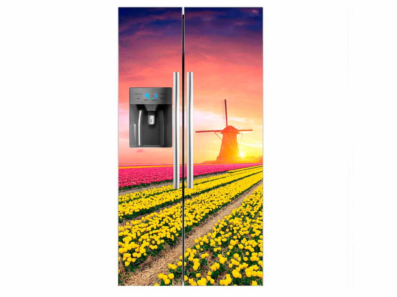 Vinilo Frigorífico Americano Campo Tulipanes | Carteles XXL - Impresión carteleria publicitaria