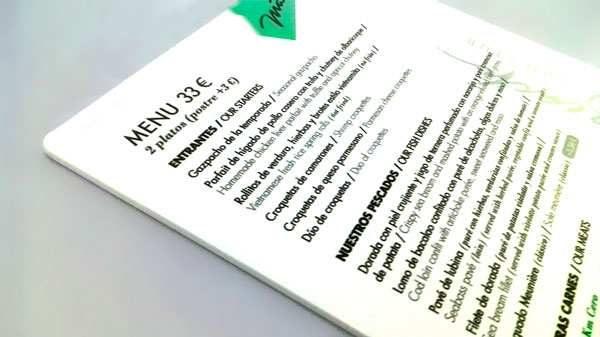 Carta para menú en PVC 3mm | Carteles XXL - Impresión carteleria publicitaria
