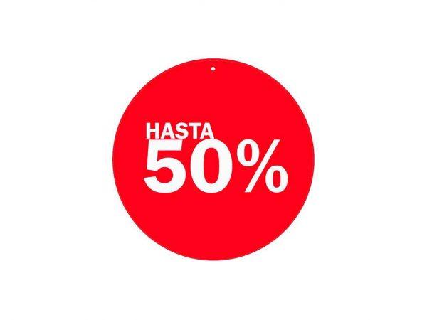 Vinilo Escaparate Cartel Rebajas Descuento 50 % | Carteles XXL - Impresión carteleria publicitaria