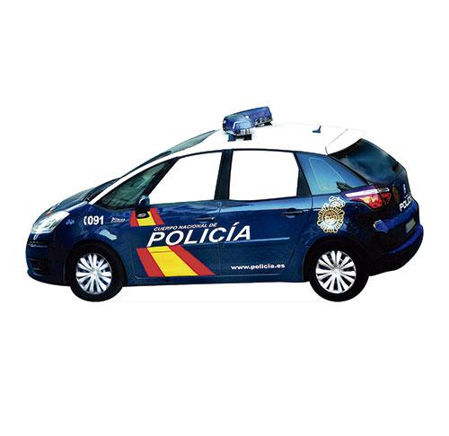 Photocall Coche Policia Nacional con Ventanas Troqueladas 300×155 cm