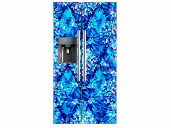 Vinilo Frigorífico Flores Azul   Carteles XXL - Impresión carteleria publicitaria